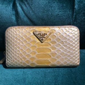 Prada Yellow Python Snake Skin Wallet